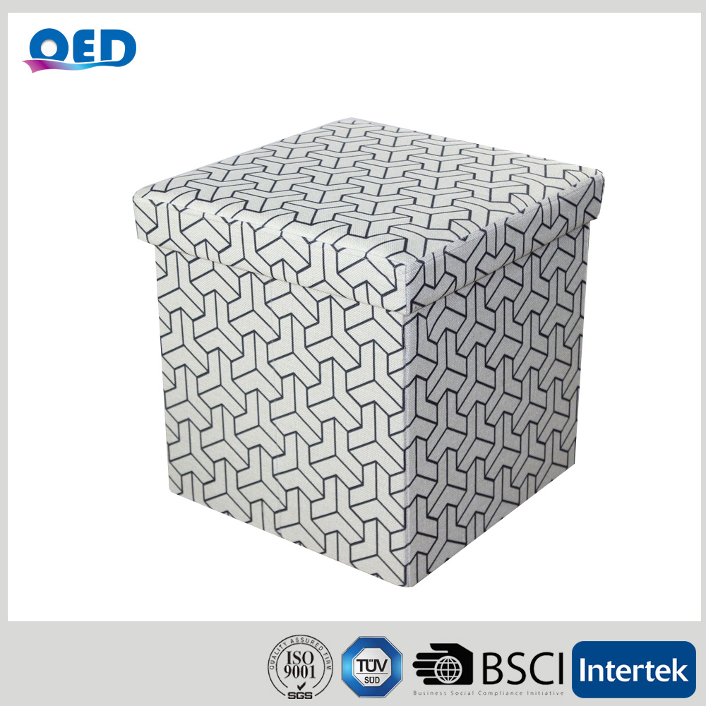 OED Linen Like Fabric Foldable Storage Ottoman Sitting Stool 38*38*38 cm F406
