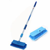Car Wash Brush with Adjustable Handle, Includes On/Off Water Control and Two Bristle Types