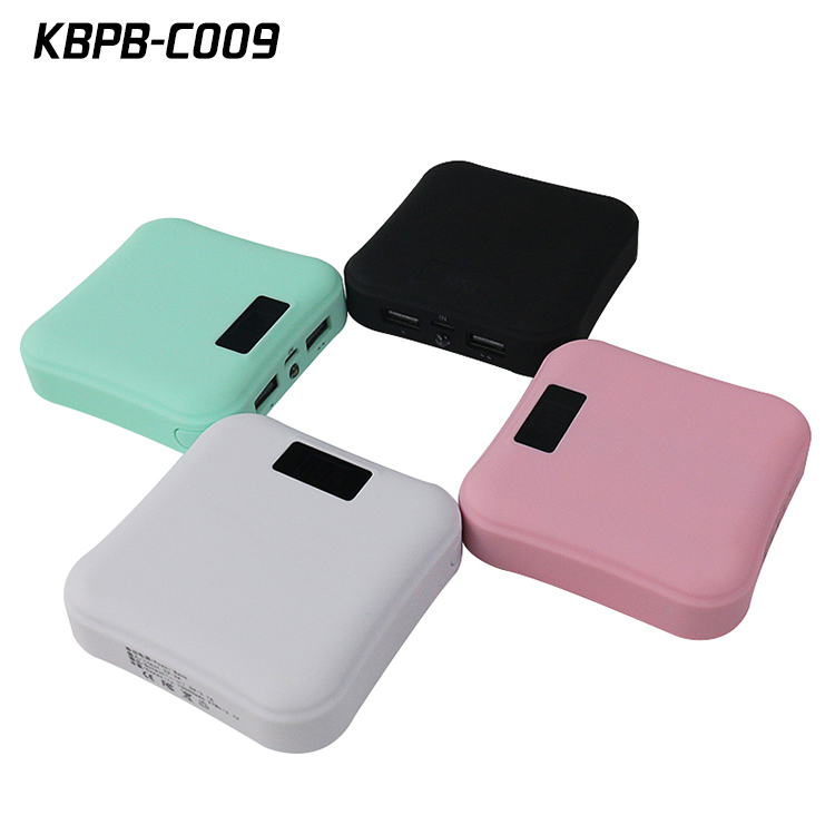Rubber case 7800mAh power bank 5V 2A input with two output and a torch light