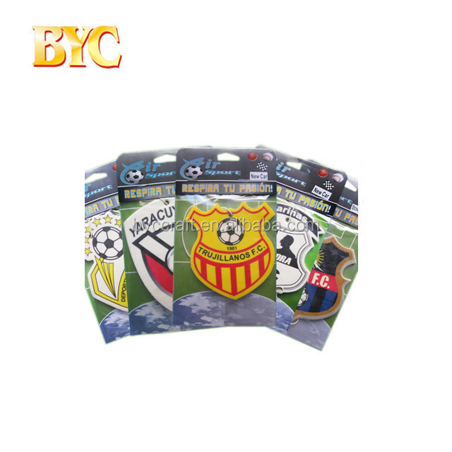 Bulk car air freshener/football soccer cup football club promotional gift car paper air freshener