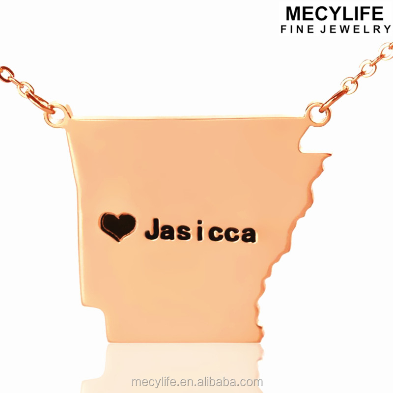 MECYLIFE Custom AR State USA Map Stainless Steel Rose Gold Chain Necklace