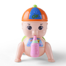 New Fashion cheap Baby crawling small plastic doll with feeding bottle