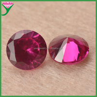 Round brilliant cut lab created diamonds red corundum gemstone for Jewelry