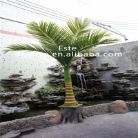 artificial small coconut fabric for indoor&outdoor decoration cloth leaves elastic steel stems