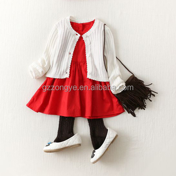 Children wear clothes little girl dress red ruffle dress with white coat