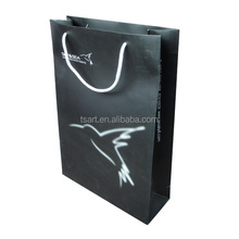 wholesale slogan black paper bag with cotton rope handle