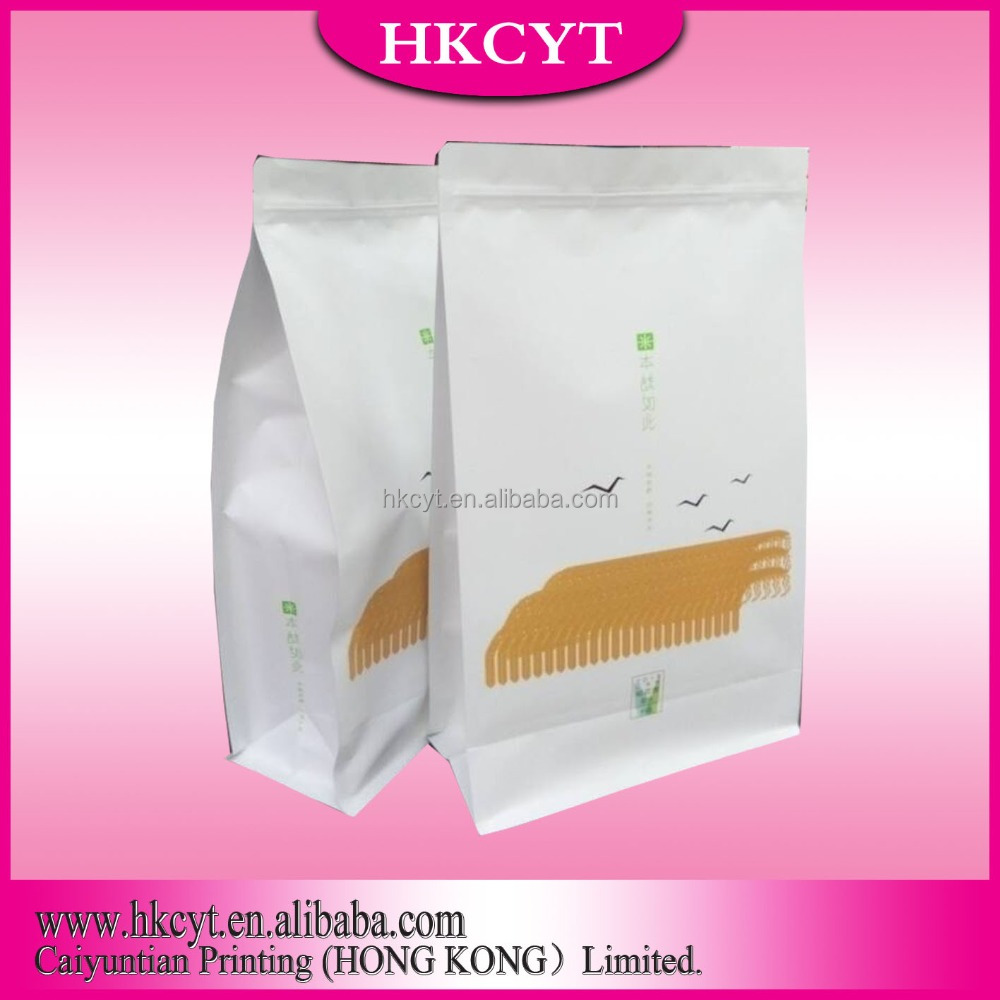 manufacturing brown kraft paper bag with zipper for flour