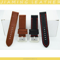 22mm 24mm OEM Oil Leather Military watch band with Thick Stitching