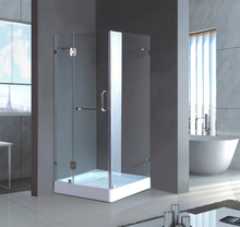 buy direct from china factory 900mm hinge frameless tempered glass shower enclosure