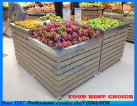 produce display wood metallic fruit and vegetable shelf stand rack