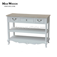 French style white wood console table