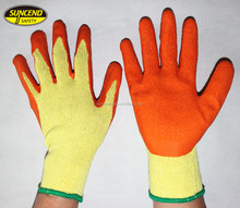 Suncend safety market popular gloves polycotton liner latex palm coated crinkle finish cheap working LUVAS,GUANTES