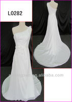 2014 guangzhou china alibaba new arrival floral chiffon one shoulder column wedding dresses with floor length L0282