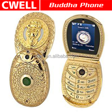 Buddha Phone 268 Dual SIM Card Low range Flip GSM China Mobile Phone Studded with Jade