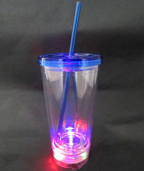 Flashing light plastic straw tumbler/ 16oz colored plastic tumblers
