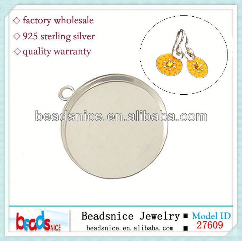 Beadsnice ID 27609 Sterling <strong>silver</strong> round bezel cups for gluing with soldered ring sold by PC wholesale pendant bezel settings