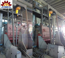 Abrasive buffing by Auto Loading Q3210 tumble belt rust removal sand blasting machine / equipment