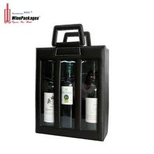 Portable three bottle leather wine display box