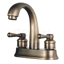 China supplier brass dual handle basin antique bronze faucet import