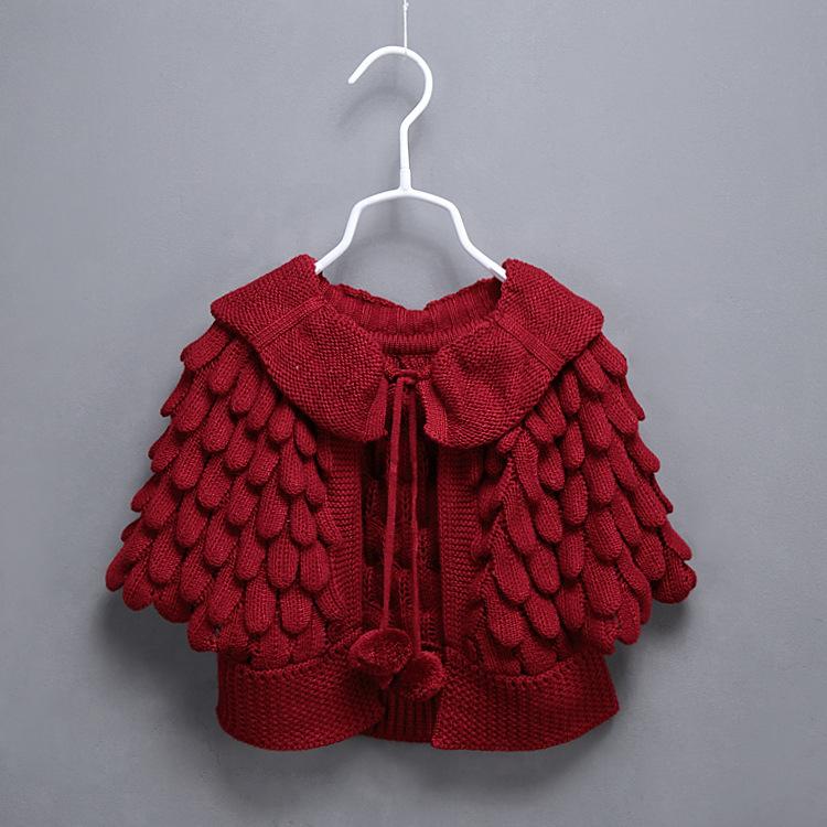 Bebé Vestido de estilo de patrón manga murciélago chal de punto ...