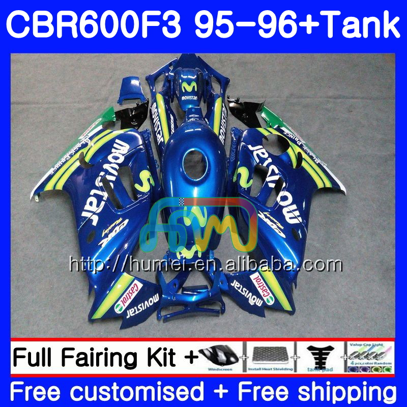 Body kit For HONDA CBR600RR F3 CBR 600F3 FS CBR600F3 13HM38 Movistar Blue CBR600FS CBR600 F3 95 96 CBR 600 F3 1995 1996 Fairing