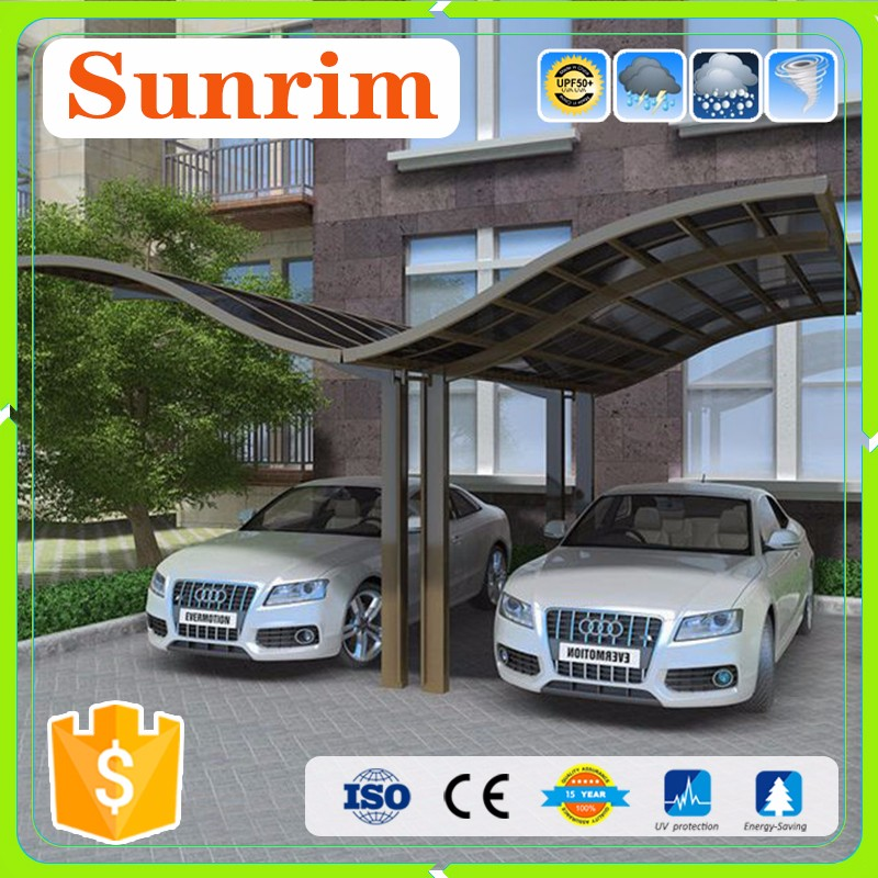Professional Carport Manufacturer, High Grade Double Elegant Aluminium/Solid PC Carport/Car Shed Design