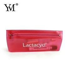 Custom cosmetic recyclable transparent heat seal side gusset zipper plastic pvc make up bag