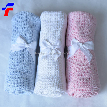 Soft Plain white weave cotton cellular blankets
