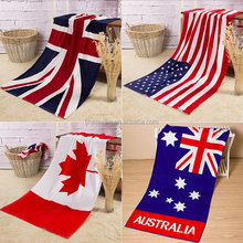 UK US Australia Canada flag design digital print customize large size functional use bath beach towel also as blanket