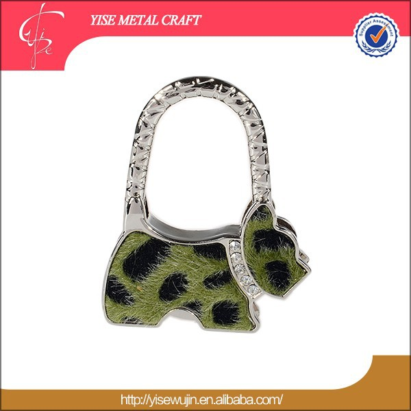 promotion gifts dog shape zinc alloy metal animal folding purse hook/key finder