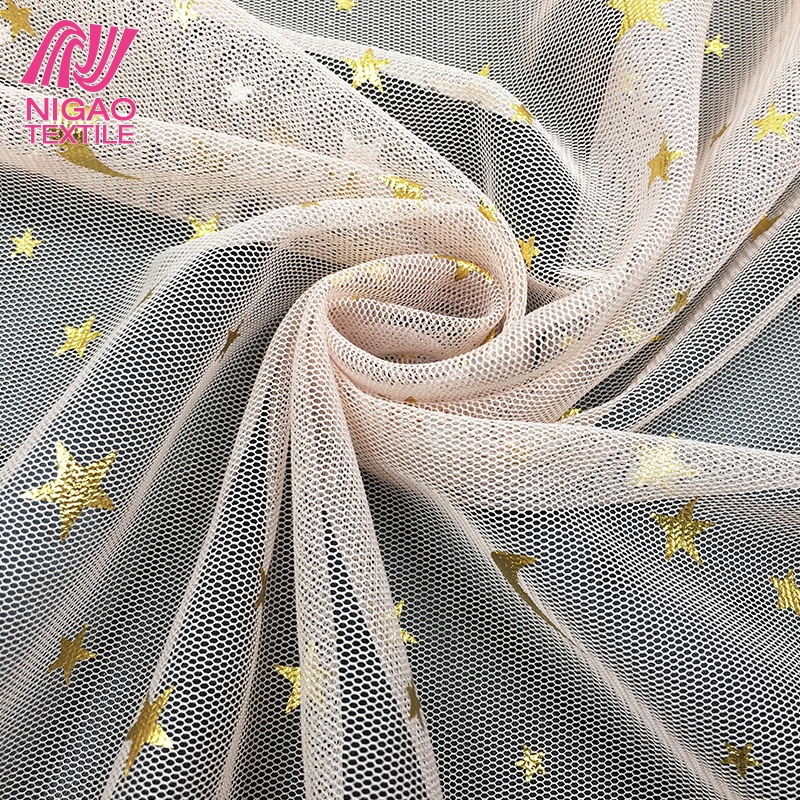 Wholesale Excellent Glitter Fabric Soft Tulle Polyester Mesh Fabric For Dress