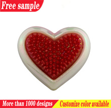 Fashion plastic accessories heart shape shoe plastic charms