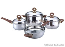 7pcs stainless steel cookware set casserole and fry pans as seen on tv