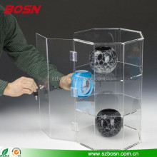 2 Shelves Countertop Acrylic Octagonal Display Case With Locking Door