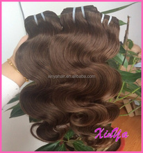 100% Human Thick End Virgin Brazilian Body wave dark brown hair color pictures