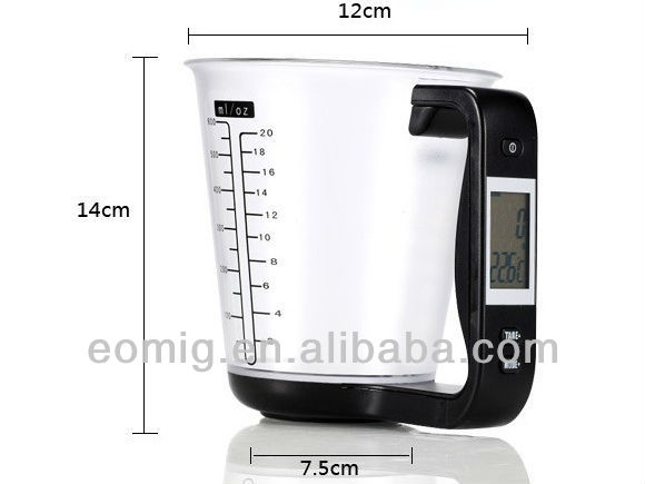 kitchen scale with measuring cup