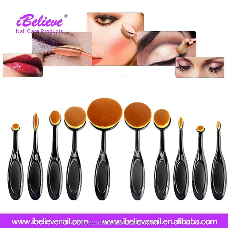 Toothbrush Eyebrow Eyeliner Lip Oval Pro Soft Cosmetic Makeup Brush Set