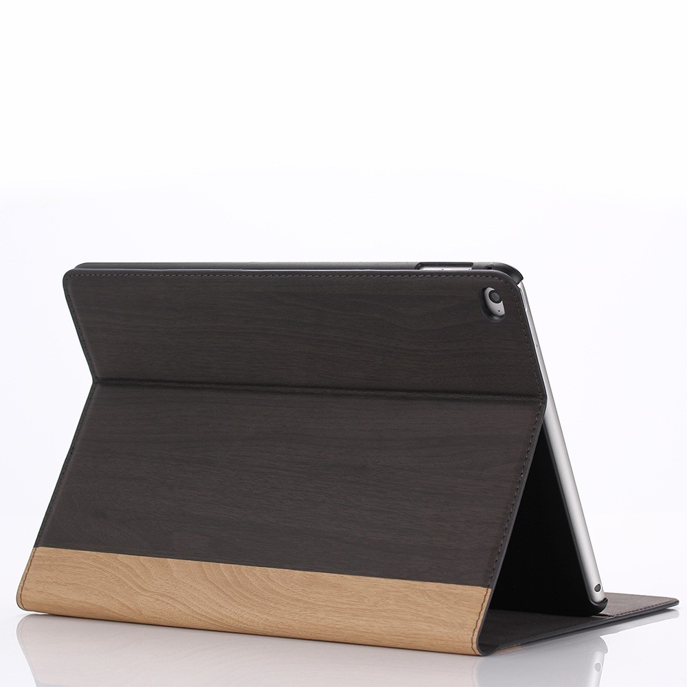 HOT Selling New Wood Grain Flip Wallet Leather Cover For ipad 5 With credit Card Slot,for ipad air case