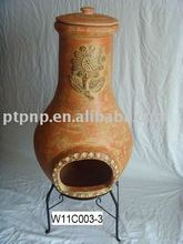 Clay chimney with metal stand, fire shelf and lid for garden decoration