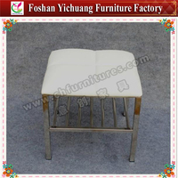Stainless steel white leather square stool with bookshelf YC-S02