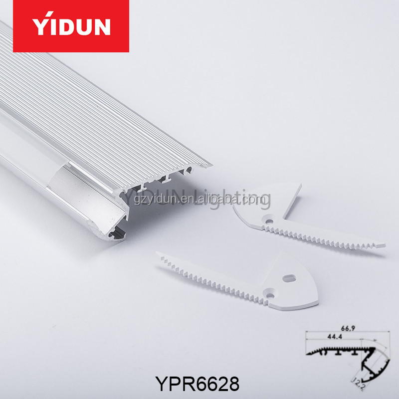 Yidun Lighting Silver Anodized stairs/steps nosing aluminum led extrusion profile housing for cinema and theatre linear light