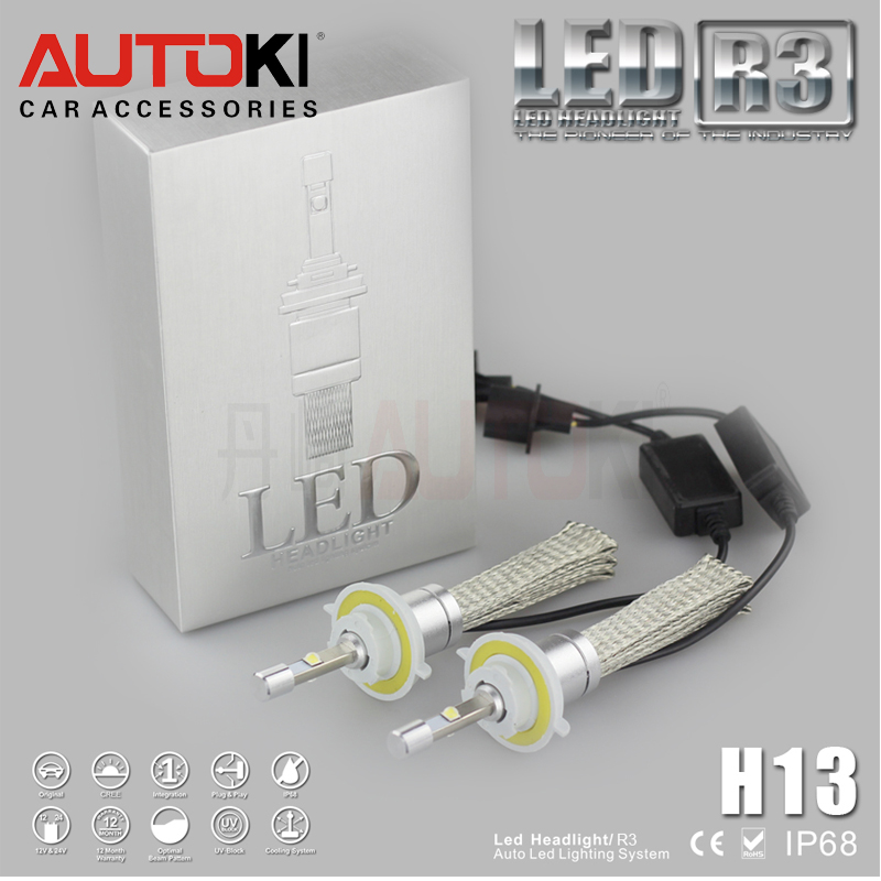 Autoki new product car accessories led motorcycle headlight bulb 40w 80w 4800LM R3 auto h13 led headlights