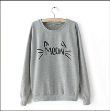 New Fashion China Led Korean Style Cat Printed Gray T-Shirt For Girls
