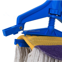 wet mop head with cleaning scouring pad and mop holder
