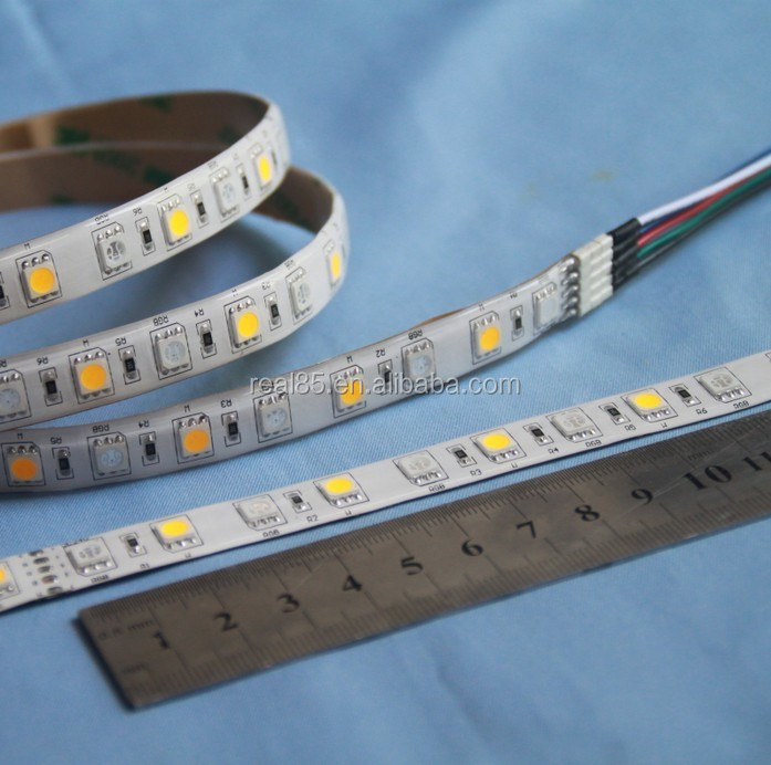 RGBW 5PIN LED strip,4 channel,1 pc 5050 RGB + 1 pc 5050 white LED, 60 leds/meter, 12VDC, 10MM width, factory