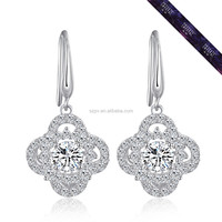 JE0483-New Fashion Ladies Earrings Dancing Stone Jewelry In 925 Sterling Silver