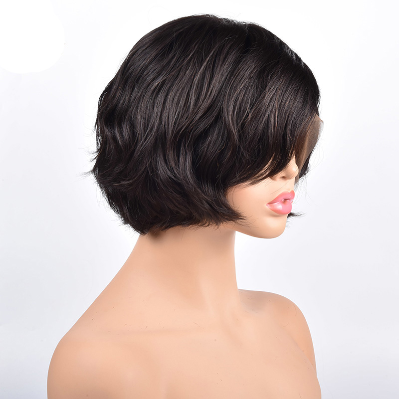 Full Lace Human Hair Short Wigs Natural Wave Bob Wigs Pixie Cut Black Full Lace Wigs For Women Brazilian Remy Hair 150%