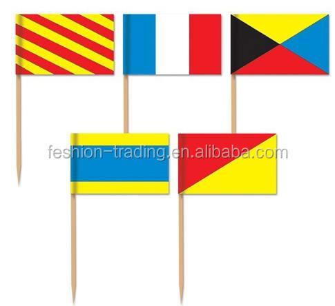 High quality 2.5*4 cm paper flag pick with wood stick