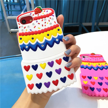 3D Cute Cartoon Cupcakes Ice Cream Shaped silicone case For Iphone6/6splus/7/7plus