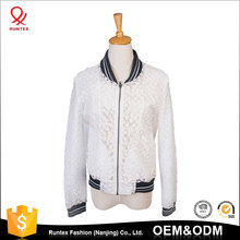 Classic custom Spring autumn woman fashion translucent bomber varsity jacket